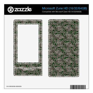 Silver And Green Celtic Spiral Knots Pattern Skins For Zune HD