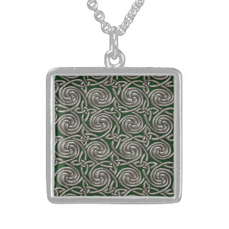 Silver And Green Celtic Spiral Knots Pattern Square Pendant Necklace