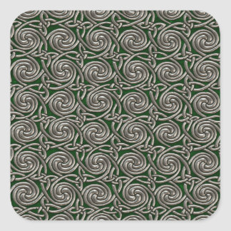 Silver And Green Celtic Spiral Knots Pattern Sticker
