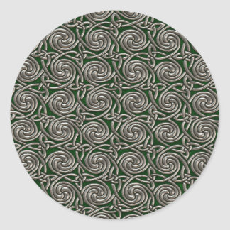 Silver And Green Celtic Spiral Knots Pattern Round Sticker