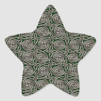 Silver And Green Celtic Spiral Knots Pattern Star Sticker