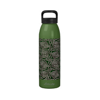 Silver And Green Celtic Spiral Knots Pattern Water Bottles