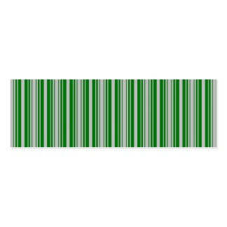 Silver and Green Christmas Stripes Double-Sided Mini Business Cards (Pack Of 20)
