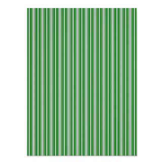 Silver and Green Christmas Stripes Invitation Cards