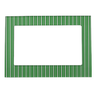 Silver and Green Christmas Stripes Picture Frame Magnet