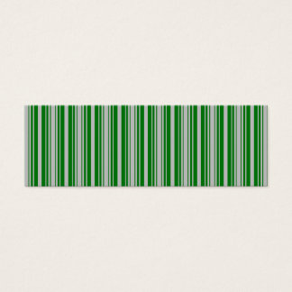 Silver and Green Christmas Stripes Mini Business Card