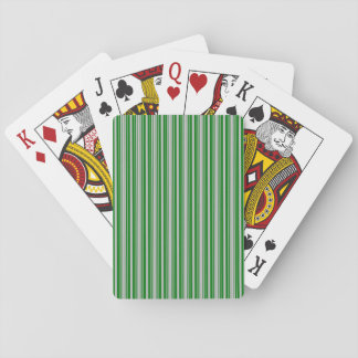 Silver and Green Christmas Stripes Playing Cards
