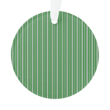 Aqua Silver and Green Christmas Stripes Ornament