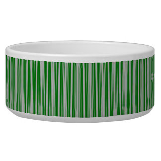 Silver and Green Christmas Stripes Dog Bowls