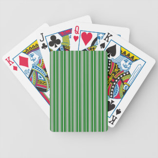 Silver and Green Christmas Stripes Bicycle Playing Cards