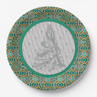 Silver and Green Christmas Tree 9 Inch Paper Plate