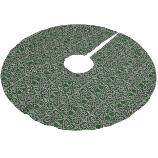 Silver And Green Connected Ovals Celtic Pattern Brushed Polyester Tree Skirt