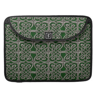 Silver And Green Connected Ovals Celtic Pattern MacBook Pro Sleeve