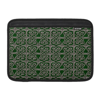 Silver And Green Connected Ovals Celtic Pattern Sleeve For MacBook Air