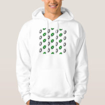 Silver and Green Football Pattern Hoodie