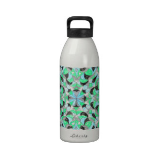 Silver and green oriental rug design! water bottles