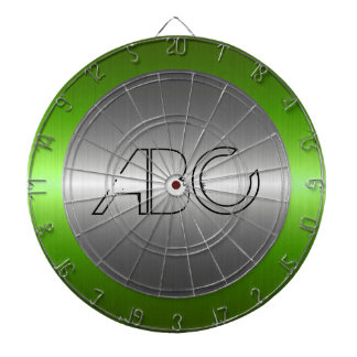 Silver and Green Stainless Steel Metal Dart Board