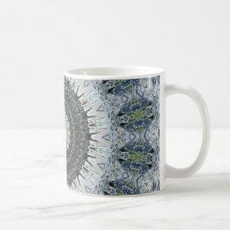 Silver and Green Tinsel Mandala Kaleidoscope Coffee Mug