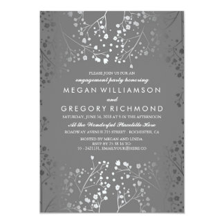Silver and Grey Baby's Breath Engagement Party Invitation