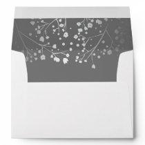 Silver and Grey baby's breath wedding Envelope
