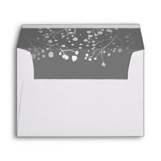 Silver and Grey baby's breath wedding Envelope
