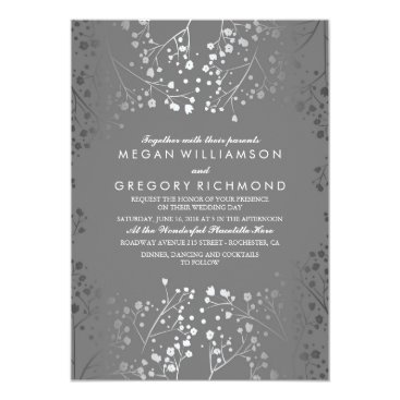 Toddler & Baby themed Silver and Grey Baby's Breath Wedding Invitations