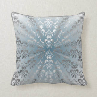 Silver and grey/blue damask throw pillow