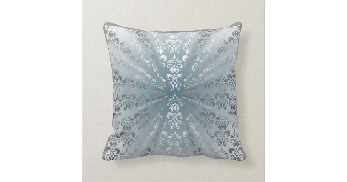 Silver and grey/blue damask throw pillow Zazzle