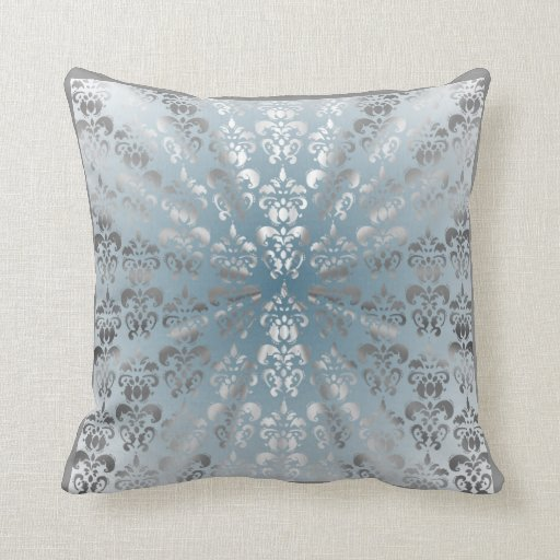 silver and grey blue damask throw pillows zazzle. Black Bedroom Furniture Sets. Home Design Ideas