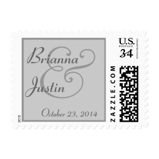 SILVER and GREY Bride and Groom Wedding Postage