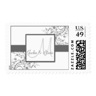 Silver and Grey Floral Swirl Monogram Postage