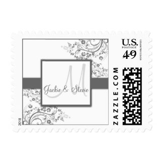 Silver and Grey Monogram Postage - small size