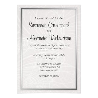 Silver and Grey Swirls Wedding Invitation