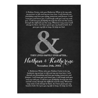 Silver and Grey Wedding Vows Happily Ever After Poster