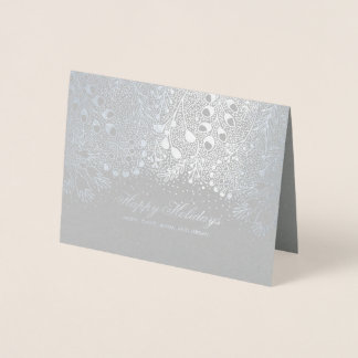 Silver and Grey Winter Holidays Family Wishes Foil Card