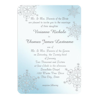 Silver and Ice Blue Snowflakes Wedding Card