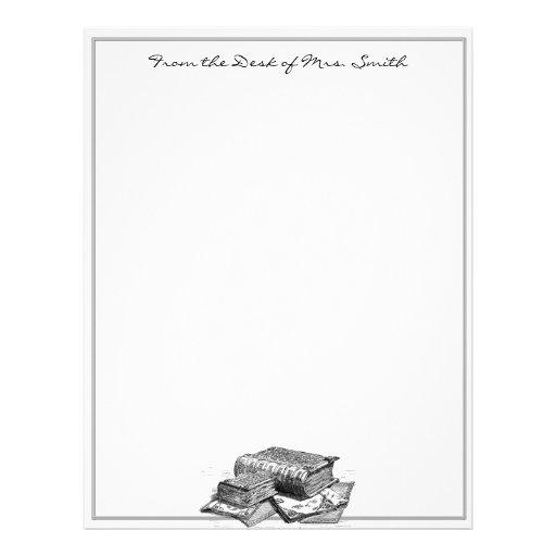 Silver and Ink Sketch of antique Books Letterhead