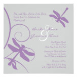 Silver and Lavender Dragonfly Wedding Invitation