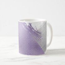 Silver and Lilac Metallic Paint Strokes Coffee Mug