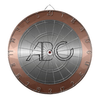 Silver and Mosaic Bronze Stainless Steel Metal Dartboard With Darts