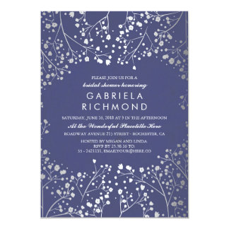 Silver and Navy Baby's Breath Bridal Shower Card