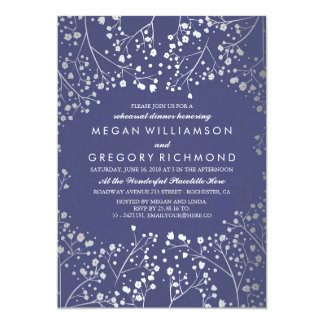 Silver and Navy Baby's Breath Rehearsal Dinner Card