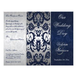 Silver and Navy Blue Damask Wedding Program