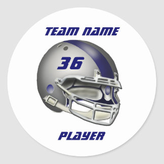 Silver and Navy Blue Football Helmet Classic Round Sticker