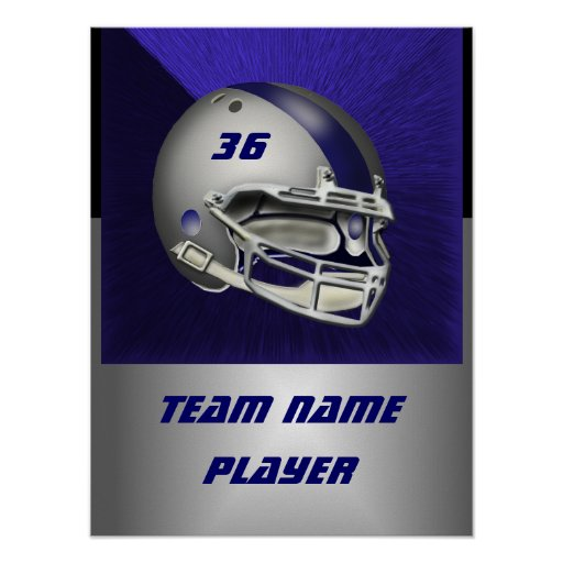 Silver and Navy Blue Football Helmet Print