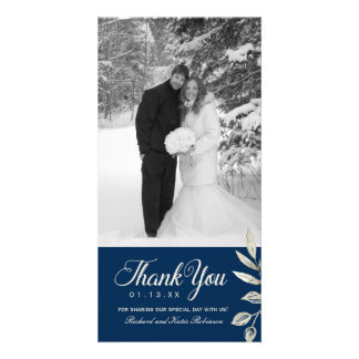 Silver and Navy Blue Thank You Photo Card (4x8)