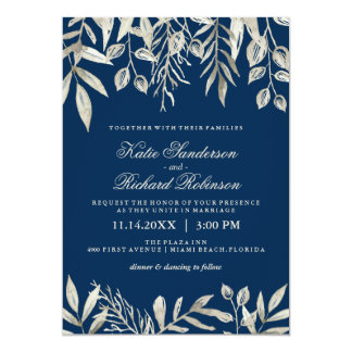 Navy And Silver Wedding Invitations Announcements Zazzle