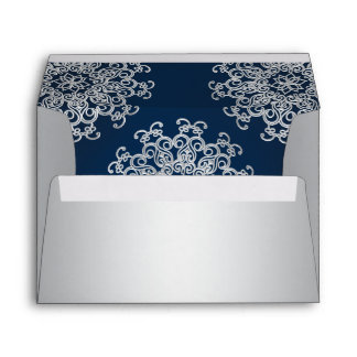 Silver and Navy Indian Style Envelope