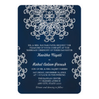 SILVER AND NAVY INDIAN STYLE WEDDING INVITATION (<em>$2.36</em>)