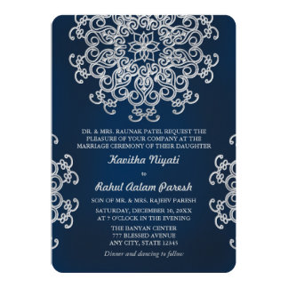 SILVER AND NAVY INDIAN STYLE WEDDING INVITATION